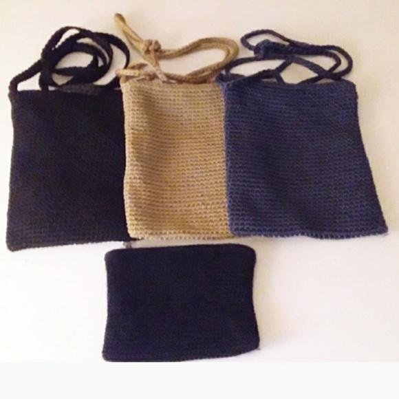 The Sak Handbags - Set of 3 Crocheted Bags and 1 The Sak Coin Purse